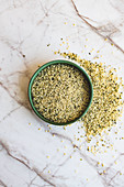 Ground hemp seed for making pesto
