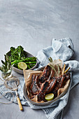 Soya-and-gingerglazed lamb chops with broccolini