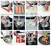 Marinierte Lachsforelle mit grünem Apfelgelee, Sauerrahmsauce, weisser Spargelmousse und Apfel-Senf-Sauce zubereiten