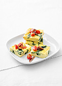 Frittata with rapini, tomatoes and anchovies
