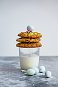 Chocolate chunk cookies with sugar-coated eggs
