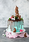 An Easter cake decorated with a chocolate bunny