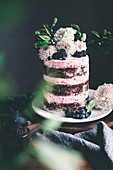 A chocolate and raspberry cake with fresh flowers and berries