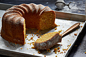 Classic carrot Bundt cake, sliced