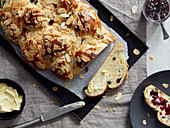 An Easter plait with raisins and flaked almonds