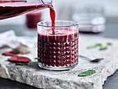 Beetroot juice with cucumber and mint