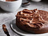 A cake with chocolate butter cream