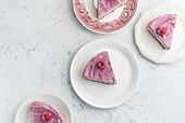 Raw cashew cake with raspberries (Sugar, milk and gluten-free dessert)