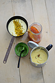 Four sauces (herb mustard, mango Hollandaise, curry mayonnaise, sweet chilli)