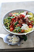 Hay and straw pasta with salsiccia ragout