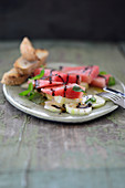 Watermelon salad with balsamic cream