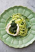 Green tagliatelle with pesto