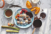 Truffle variety with chocolat, coconut, raspberries, salted caramel and rhubarb