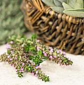 Flowering wild thyme next to a wicker basket