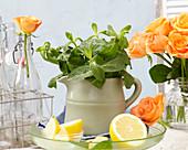 Minze in einem Krug, Zitrone und Rosen