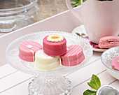 Petit fours on a glass cake stand