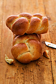 A homemade bread plait