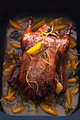 Duck with orange, thyme and rosemary