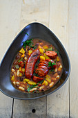 Spanish vegetable and bean stew with chorizo