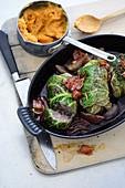 Wild boar cabbage wraps with mashed sweet potatoes