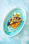 Grilled miso red cabbage with pumpkin and coconut purée and diced peaches (vegan)