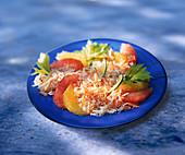 Citrus fruit salad with surimi