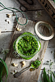 Wild garlic and cashew nuts pesto in a jar