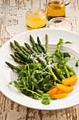 Asparagus with pea shoots