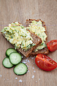 Zucchini egg spread on wholemeal bread