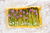Puff pastry tart with asparagus and sauce Hollandaise