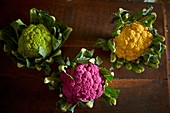 Different coloured cauliflowers