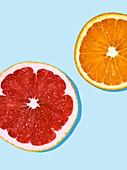 Ruby grapefruit and orange slices