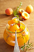 Preserved apricots with fresh rosemary in a preserving jar