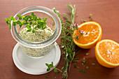 Homemade herb and orange salt