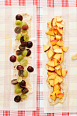 Grape strudel and peach strudel (unbaked)