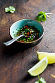 Coriander, chili pepper, olive olil and lime sauce