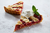 Two slices of strawberry and rhubarb tart