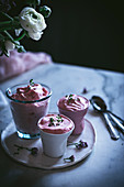 Tasty glasses of strawberry mousse