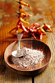 Hot spice mixture with chilli, black peppers and sea salt