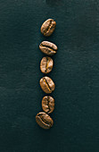 A row of coffee beans