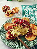 Cheesecake with pomegranate seeds
