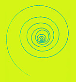 Electron Spiral Track, Bubble Chamber Event