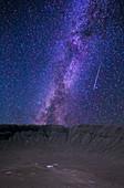 Milky Way and Meteor over Meteor Crater