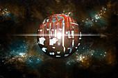Dyson Sphere Built by Advanced Civilization
