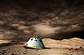 Scorched Space Capsule in Barren Landscape