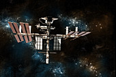 Shuttle Docked at Space Station