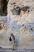 Large rocks in cliff of tuff, Texas, USA