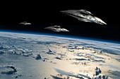 Spaceships in Orbit Over Earth