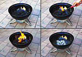 Burning Charcoal in a Barbecue Grill