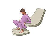 Squatting Birthing Position, illustration